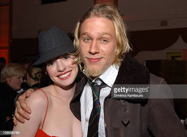 "Anne Hathaway and Charlie Hunnam during ""Nicholas Nickleby"" - New York Premiere - After-Party at St. Bartholomew's Restaurant in New York City, New..."