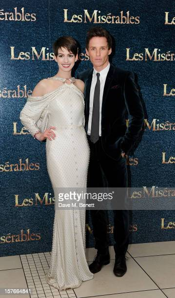Anne Hathaway and Eddie Redmayne attend the World Premiere of 'Les Miserables' at Odeon Leicester Square on December 5 2012 in London England