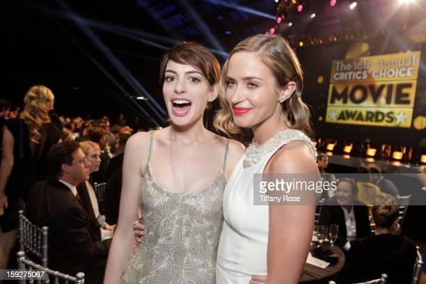 Anne Hathaway and Emily Blunt and attend the Critics' Choice Movie Awards 2013 with Champagne Nicolas Feuillatte at Barkar Hangar on January 10 2013...