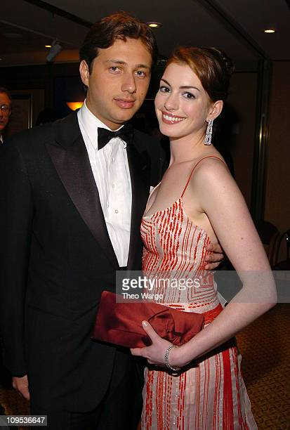 Anne Hathaway and guest during Entertainment Industry Foundation's Colon Cancer Benefit on the QM2 Green Room at Queen Mary 2 in New York City New...