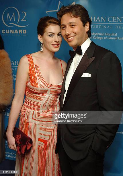Anne Hathaway and guest during Entertainment Industry Foundation's Colon Cancer Benefit on the QM2 Red Carpet at Queen Mary 2 in New York City New...