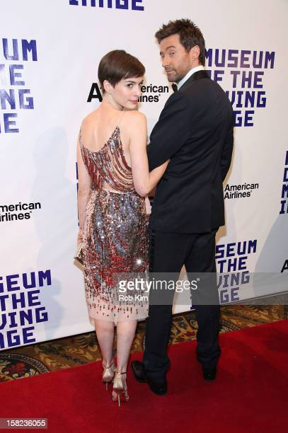 Anne Hathaway and Hugh Jackman attend the Museum Of Moving Image Salutes Hugh Jackman at Cipriani Wall Street on December 11 2012 in New York City