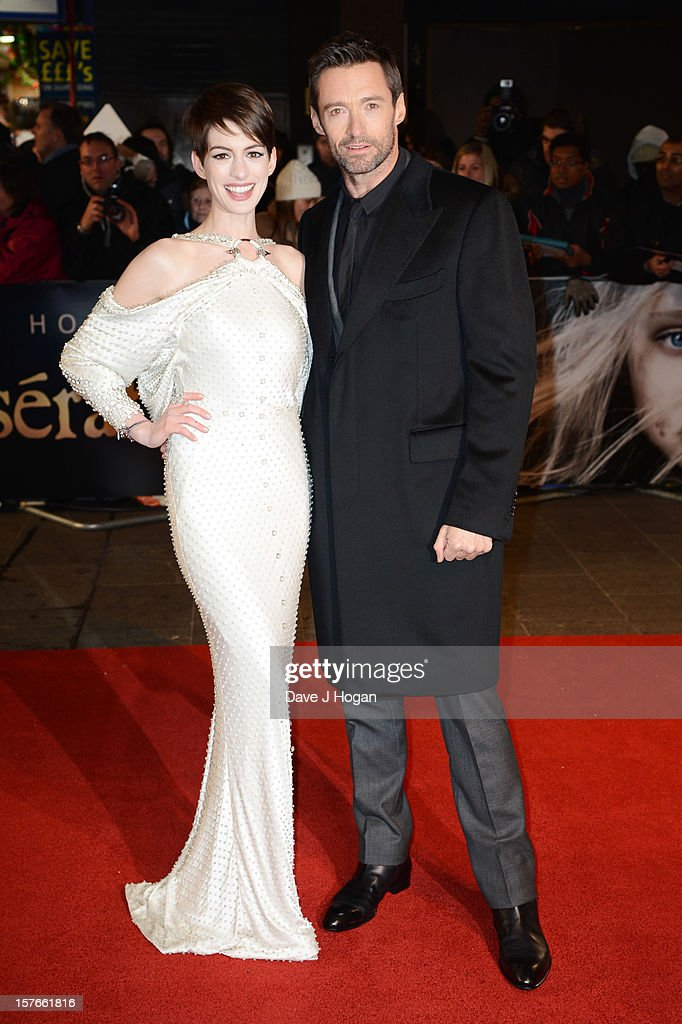 Anne Hathaway and Hugh Jackman attend the world premiere of Les Miserables at The Odeon Leicester Square on December 5, 2012 in London, England.