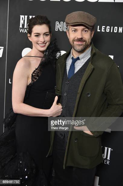 """Anne Hathaway and Jason Sudeikis attend the """"Colossal"""" New York Premiere at AMC Lincoln Square Theater on March 28, 2017 in New York City."""