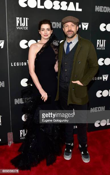 Anne Hathaway and Jason Sudeikis attend The Premiere of Colossal CoHosted by FIJI Water at AMC Lincoln Square Theater on March 28 2017 in New York...