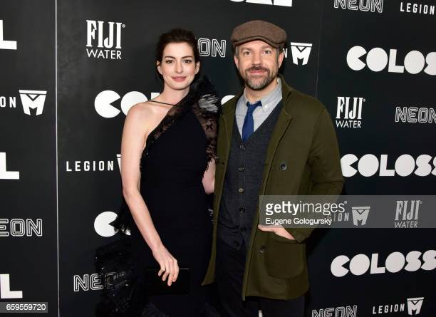 Anne Hathaway and Jason Sudeikis attend The Premiere of 'Colossal' CoHosted by FIJI Water at AMC Lincoln Square Theater on March 28 2017 in New York...