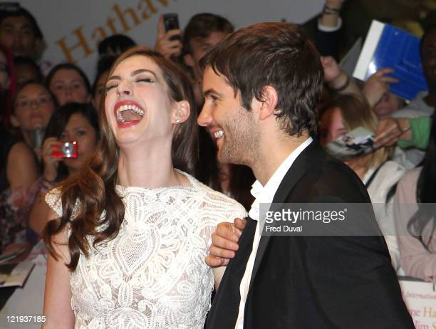 Anne Hathaway and Jim Sturgess attend the European premiere of 'One Day' at Vue Westfield on August 23 2011 in London England