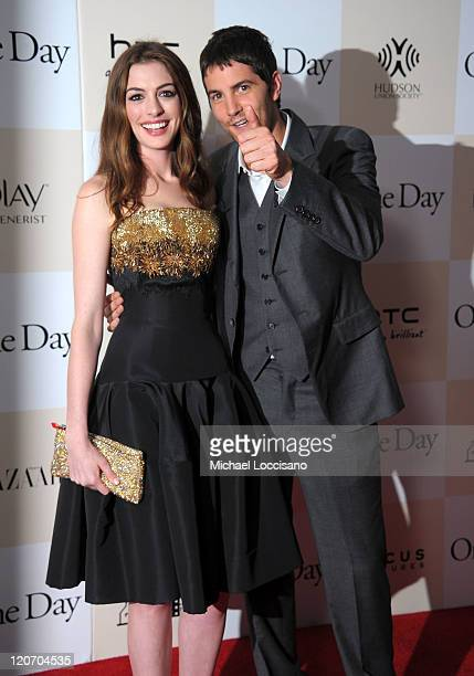 Anne Hathaway and Jim Sturgess attend the One Day premiere at the AMC Loews Lincoln Square 13 theater on August 8 2011 in New York City