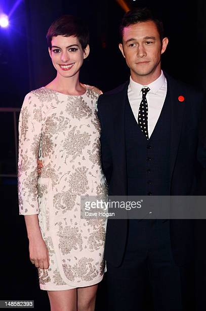 Anne Hathaway and Joeseph Gordon Levitt attend the European premiere afterparty of The Dark Knight Rises at Freemasons Hall on July 18 2012 in London...