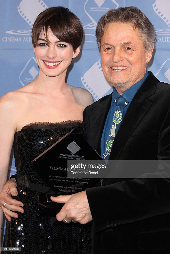 Anne Hathaway (L) and Jonathan Demme attend the 49th annual Cinema Audio Society Awards held at Millennium Biltmore Hotel on February 16, 2013 in Los Angeles, California.