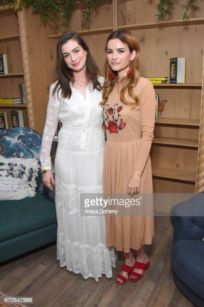 Anne Hathaway and Kelly Oxford attend the celebration for the release of Kelly Oxford's book 'When You Find Out The World Is Against You' on April 24...