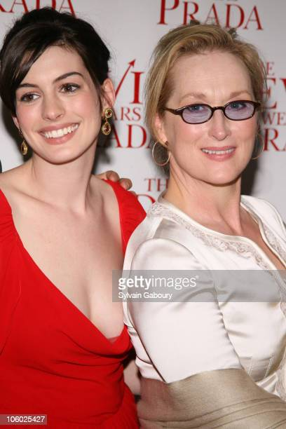 "Anne Hathaway and Meryl Streep during Twentieth Century Fox Premiere of ""The Devil Wears Prada"" - Arrivals at AMC Loews Lincoln Square at 1998..."