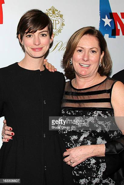Anne Hathaway and mother Producer Kate McCauley Hathaway attend the opening night of Ann at Vivian Beaumont Theatre at Lincoln Center on March 7 2013...