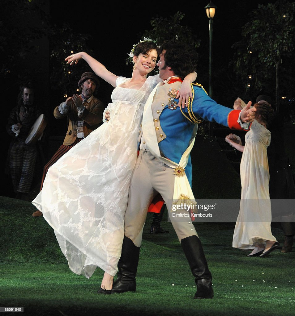 Anne Hathaway And Raul Esparza Perform During The 2009