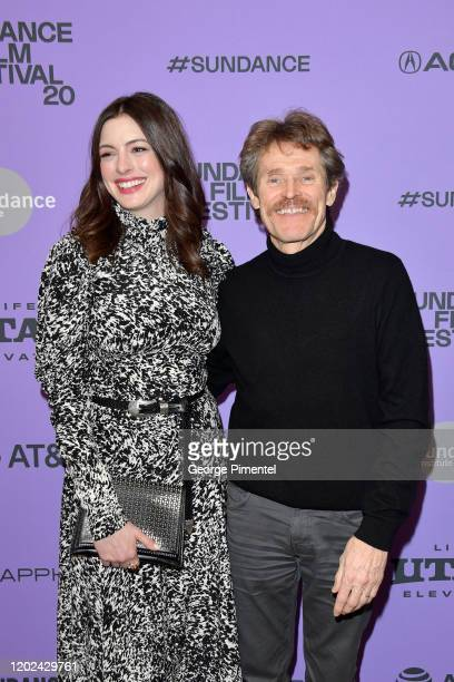 Anne Hathaway and Willem Dafoe attend The Last Thing He Wanted premiere at Eccles Center Theatre on January 27 2020 in Park City Utah