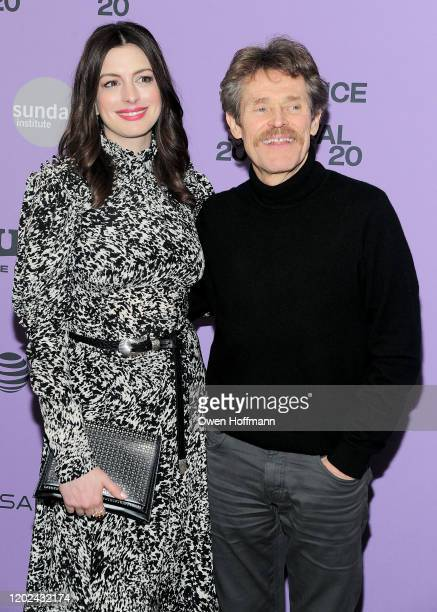 Anne Hathaway and Willem Dafoe attend the Netflix The Last Thing He Wanted Premiere at Eccles Center Theatre on January 27 2020 in Park City Utah