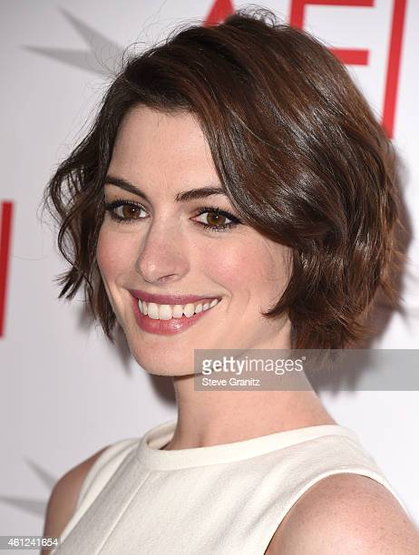Anne Hathaway arrives at the 15th Annual AFI Awards at Four Seasons Hotel Los Angeles at Beverly Hills on January 9 2015 in Beverly Hills California