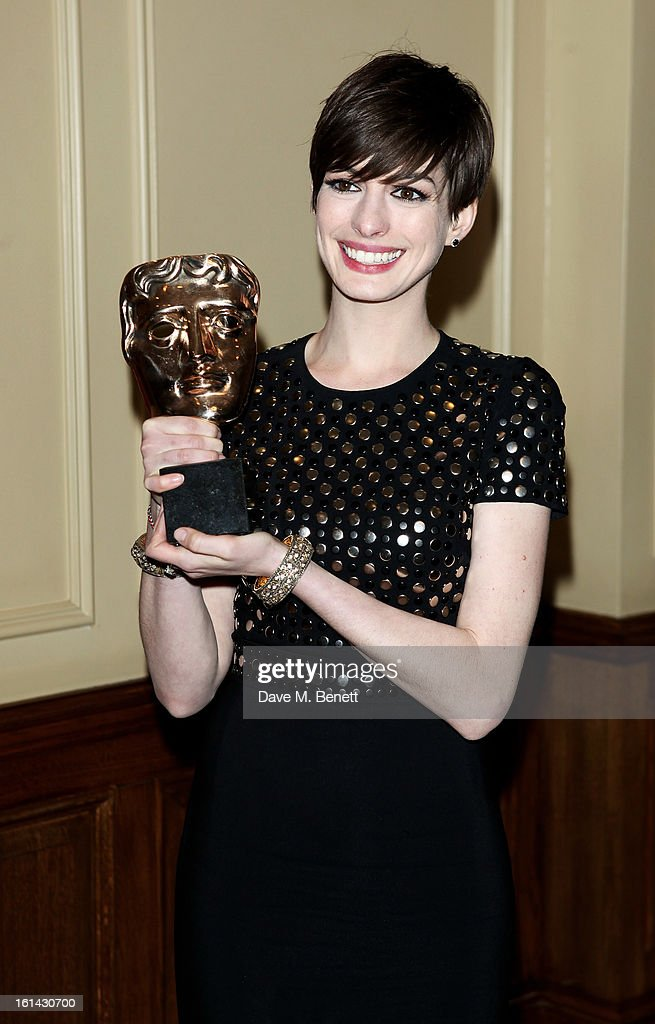 Anne Hathaway arrives at the after party following the EE British Academy Film Awards at Grosvenor House on February 10, 2013 in London, England.