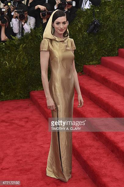 Anne Hathaway arrives at the Costume Institute Gala Benefit at The Metropolitan Museum of Art May 5, 2015 in New York. AFP PHOTO / TIMOTHY A. CLARY