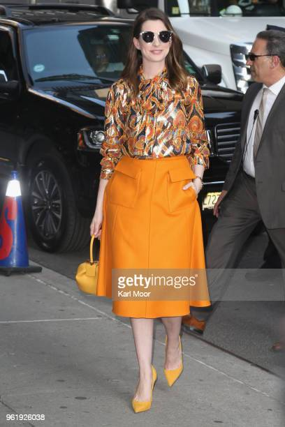 Anne Hathaway arrives at 'The Late Show With Stephen Colbert'at Ed Sullivan Theater on May 23 2018 in New York City
