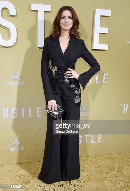Anne Hathaway arrives at the Premiere Of MGM's The Hustle at ArcLight Cinerama Dome on May 8 2019 in Hollywood California