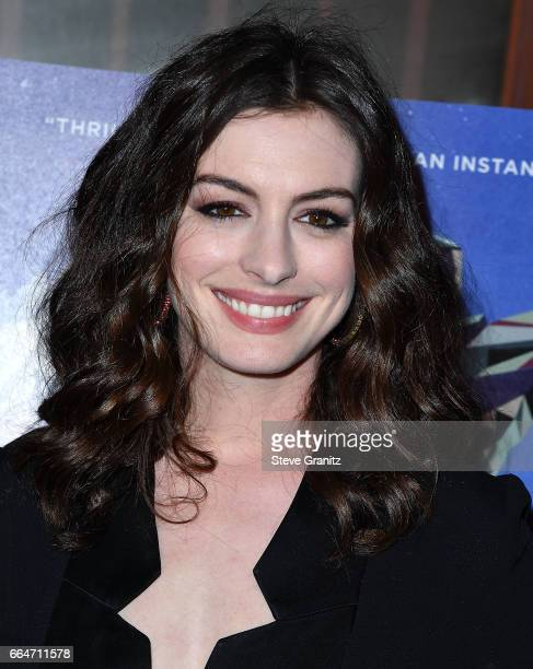 Anne Hathaway arrives at the Premiere Of Neon's 'Colossal' at the Vista Theatre on April 4 2017 in Los Angeles California