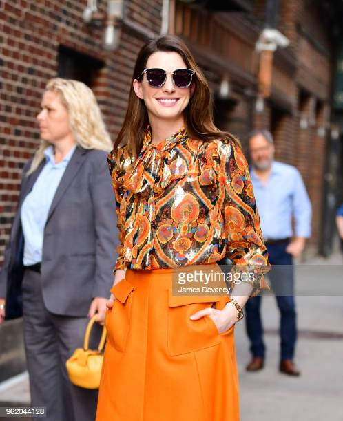 Anne Hathaway arrives to 'The Late Show With Stephen Colbert' at the Ed Sullivan Theater on May 23 2018 in New York City