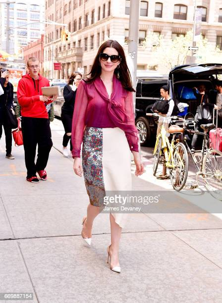 Anne Hathaway arrives to 'Watch What Happens Live with Andy Cohen' on April 18 2017 in New York City