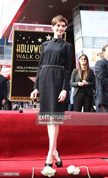 Anne Hathaway at Hugh Jackman's Star Ceremony On The Hollywood Walk Of Fame on December 13 2012 in Hollywood California