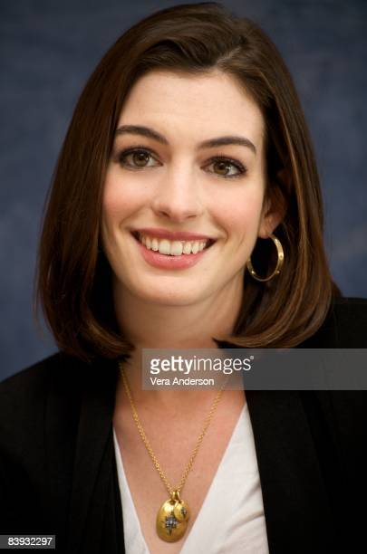 Anne Hathaway at the 'Bride Wars' press conference at the Four Seasons Hotel on December 3 2008 in Beverly Hills California