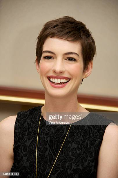 Anne Hathaway at 'The Dark Knight Rises' Press Conference at The Beverly Hilton Hotel on July 8 2012 in Beverly Hills California