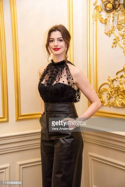 Anne Hathaway at The Hustle Press Conference at the Four Seasons Hotel on April 28 2019 in New York City