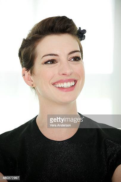 Anne Hathaway at the Rio 2 Press Conference at the Fontainebleau Hotel on March 23 2014 in Miami Beach Florida