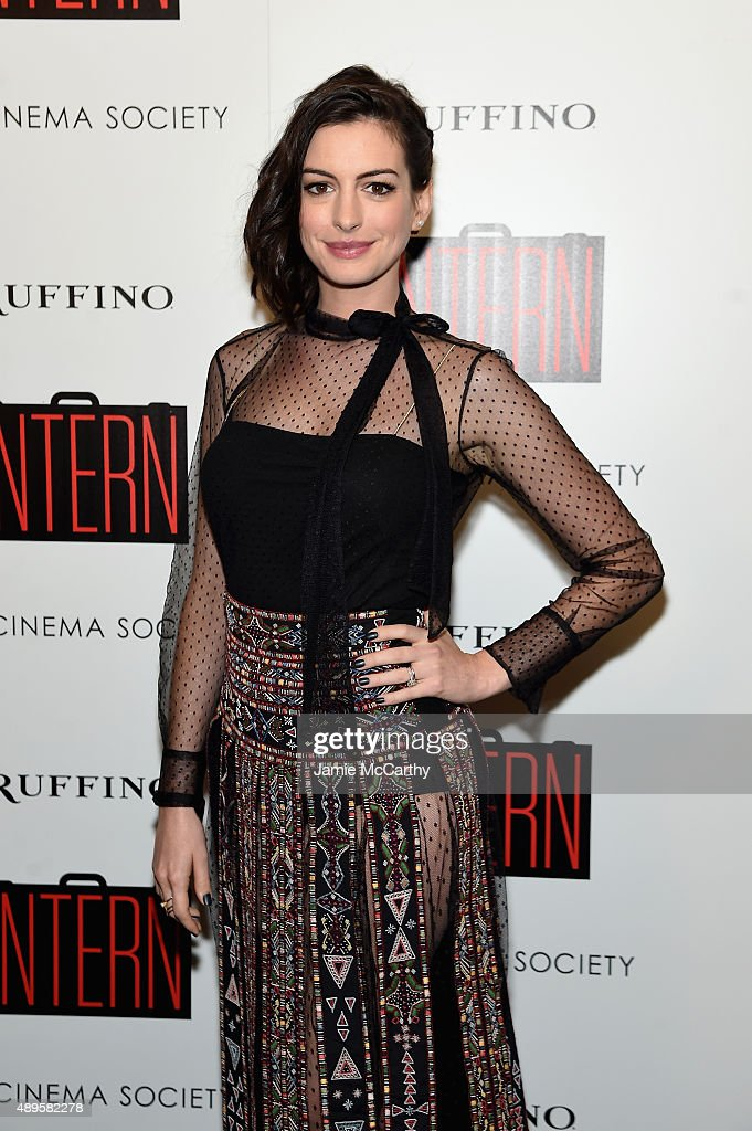 Anne Hathaway attends a screening of Warner Bros. Pictures 'The Intern' hosted by The Cinema Society And Ruffino on September 22, 2015 in New York City.