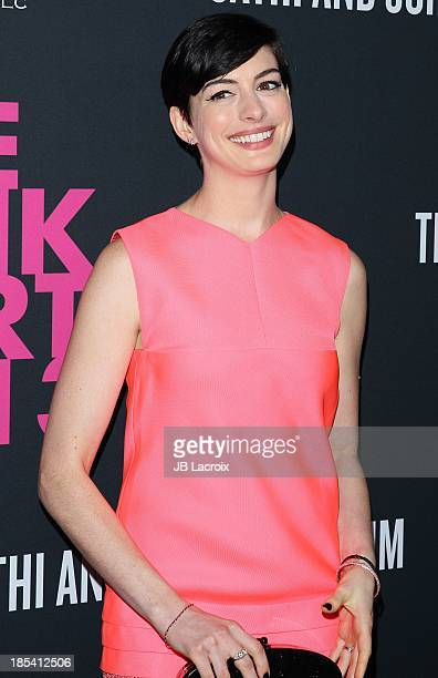 Anne Hathaway attends Elyse Walker Presents The Pink Party 2013 hosted by Anne Hathaway at The Barker Hanger on October 19 2013 in Santa Monica...