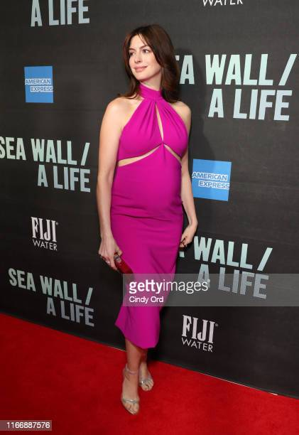 Anne Hathaway attends FIJI Water At Sea Wall / A Life Opening Night On Broadway on August 08 2019 in New York City