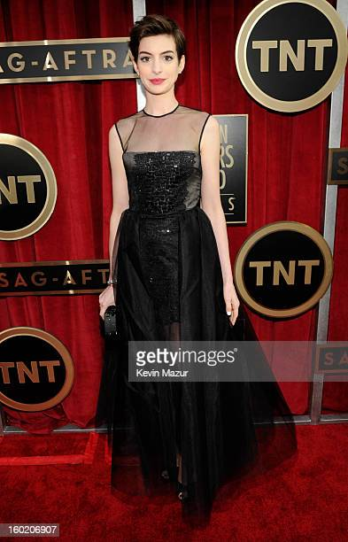 Anne Hathaway attends the 19th Annual Screen Actors Guild Awards at The Shrine Auditorium on January 27 2013 in Los Angeles California...