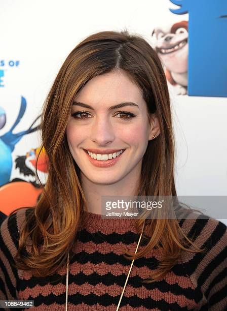 Anne Hathaway attends the 20th Century Fox press day For 'RIO' at Zanuck Theater at 20th Century Fox Lot on January 28 2011 in Los Angeles California