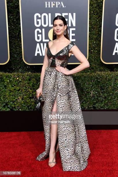 Anne Hathaway attends the 76th Annual Golden Globe Awards at The Beverly Hilton Hotel on January 6 2019 in Beverly Hills California