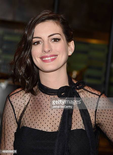 Anne Hathaway attends the after party for the screening of Warner Bros Pictures 'The Intern' hosted by The Cinema Society And Ruffino on September 22...