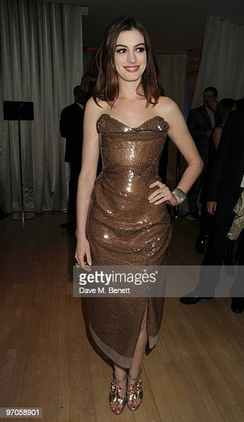 Anne Hathaway attends the afterparty following the Royal World Premiere of 'Alice In Wonderland' at The Sanderson Hotel on February 25 2010 in London...