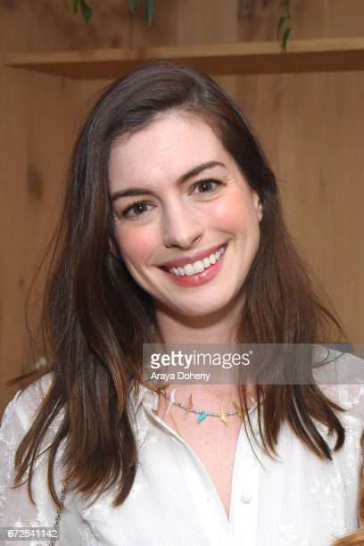 Anne Hathaway attends the celebration for the release of Kelly Oxford's book 'When You Find Out The World Is Against You' on April 24 2017 in West...