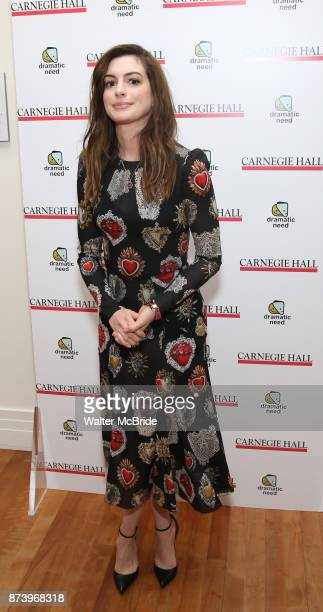 Anne Hathaway attends The Children's Monologues at Carnegie Hall on November 13 2017 in New York City