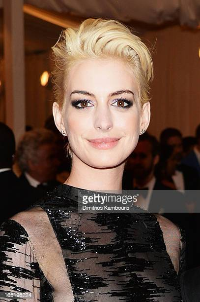 Anne Hathaway attends the Costume Institute Gala for the PUNK Chaos to Couture exhibition at the Metropolitan Museum of Art on May 6 2013 in New York...