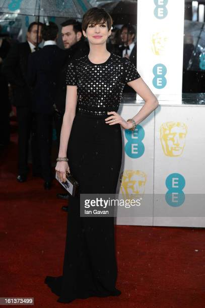 Anne Hathaway attends the EE British Academy Film Awards at The Royal Opera House on February 10 2013 in London England