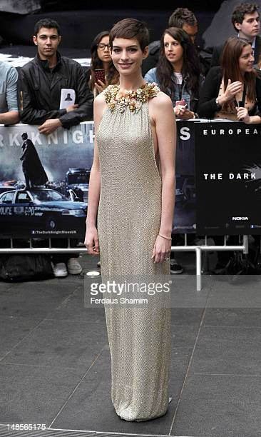 Anne Hathaway attends the European premiere of Dark Knight Rises at Odeon Leicester Square on July 18 2012 in London England