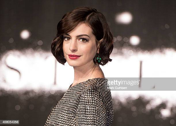 """Anne Hathaway attends the European premiere of """"Interstellar"""" at Odeon Leicester Square on October 29, 2014 in London, England."""