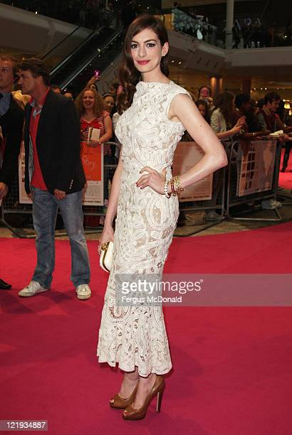 """Anne Hathaway attends the European premiere of """"One Day"""" at The Vue Westfield on August 23, 2011 in London, England."""