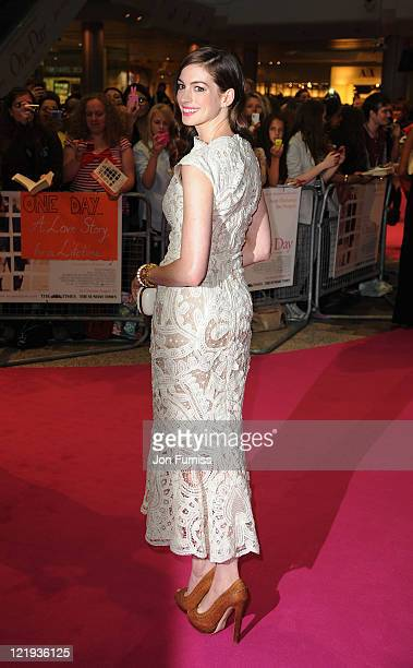 Anne Hathaway attends the European premiere of 'One Day' at Vue Westfield on August 23 2011 in London England