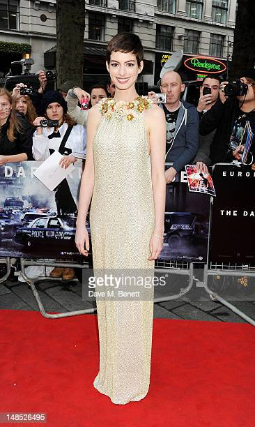 Anne Hathaway attends the European Premiere of 'The Dark Knight Rises' at Odeon Leicester Square on July 18 2012 in London England